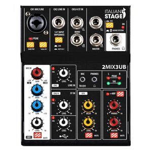 Italian Stage IS 2MIX3UB Mixer Audio Stereo con interfaccia USB e Bluetooth + effetti