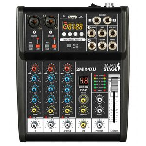 Italian Stage IS 2MIX4XU Mixer Audio Stereo + Registatore USB + Bluetooth + effetti