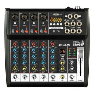 Italian Stage IS 2MIX6XU Mixer Audio Stereo + Registatore USB + Bluetooth + effetti