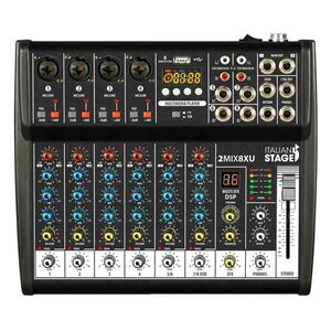 Italian Stage IS 2MIX8XU Mixer Audio Stereo + Registatore USB + Bluetooth + effetti