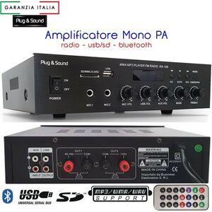 AMPLIFICATORE AUDIO PA 100V FILODIFFUSIONE IN LOCALI PUB RISTORANTE PALESTRA