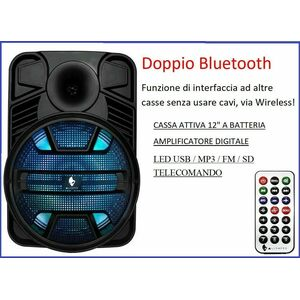 CASSA AMPLIFICATA PORTATILE A BATTERIA RICARICABILE USB BLUETOOTH TWS RADIO FM MP3