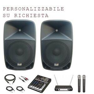 Italian Stage K-115 Impianto Audio Completo Mixer + Casse Amplificate + Microfoni wi-fi wireless