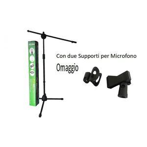 Supporto stand asta per microfono treppiede a giraffa + 2 Pinze Reggimicrofono