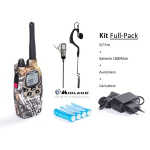 KIT FULL PACK MIDLAND G7 PRO MIMETICA + AURICOLARE + BATTERIE + CARICATORE SOFT AIR RADIO