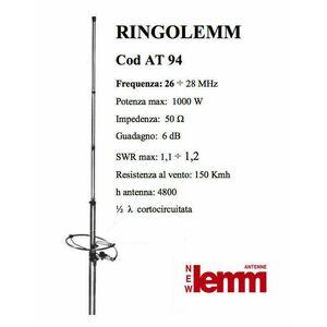 RINGO LEMM AT-94 Antenna CB da stazione fissa cortocircuitata 1/2 onda