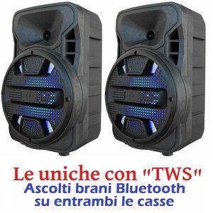 "COPPIA CASSE AMPLIFICATE WIRELESS senza fili 8"" BATTERIE BLUETOOTH USB/SD"