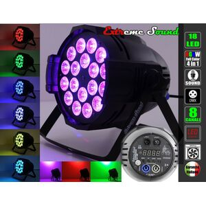 PAR LED RGBW 18x10 WATT FULL COLOR PROFESSIONALE DMX PROGRAMMABILE EXTREME SOUND