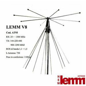 LEMM ANTENNA V8 DISCONE RX DA 25 A 1300 MHZ TX 144/220/440/900/1290 MHZ