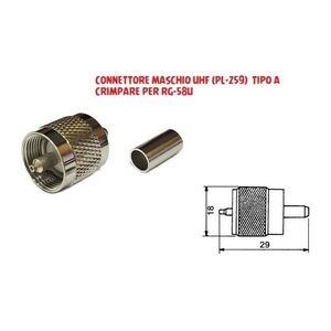 CONNETTORE MASCHIO PL UHF 259 TIPO A CRIMPARE PER CAVO ANTENNA RG-58 CB VHF HF