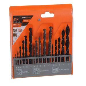 Set 16 punte per Trapano Kit 6 per il metallo, 5 per muri e 5 per il legno