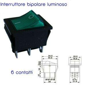 INTERRUTTORE BIPOLARE LUMINOSO VERDE 250V MAX 15A 6 CONTATTI
