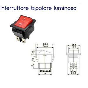 interruttore a bilanciere bipolare 0-1 luminoso 15A 250 volt 4 CONTATTI