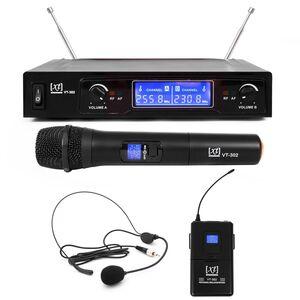XT VT-302 PA Radiomicrofono Wireless VHF Doppio, Palmare + Bodypack + Archetto