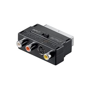 Adattatore SCART maschio audio RCA S-VIDEO svhs femmina in out per presa cavo tv