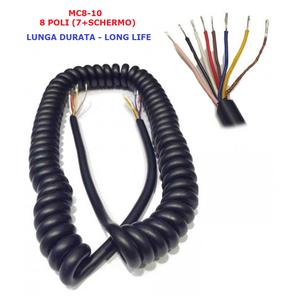 MC8-10 CAVO MICROFONICO DI RICAMBIO PER RADIO CB HF VHF UHF SPIRALATO AD 8 POLI RINFORZATO