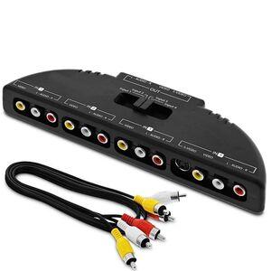 Switch/Splitter Adattatore Selettore Audio e Video RCA 4 Ingressi - 1 Uscita