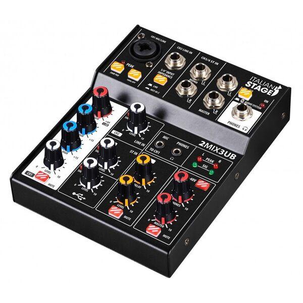 Italian Stage IS 2MIX3UB Mixer Audio Stereo con interfaccia USB e Bluetooth + effetti