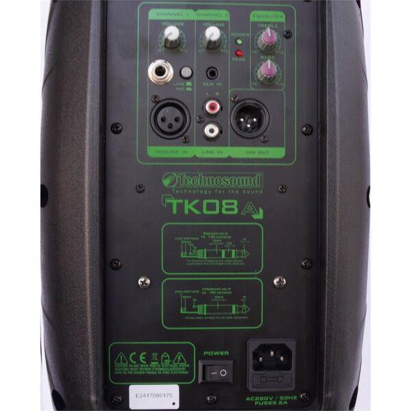 """TECHNOSOUND TK08A CASSA AMPLIFICATA ATTIVA 8"""" DIFFUSORE AUDIO 200W"""