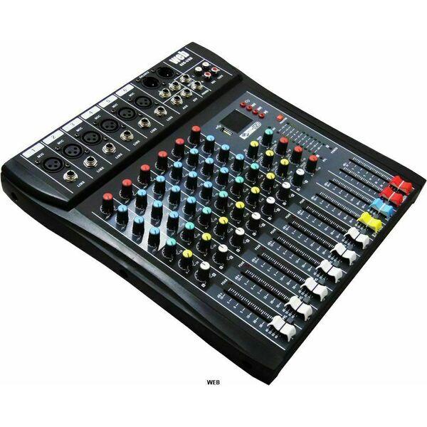 MIXER AUDIO CON BLUETOOTH 6 CANALI KARAOKE DJ STUDIO EFFETTI USB + DISPLAY
