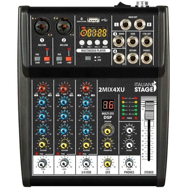 Italian Stage K-110 Impianto Audio Completo Mixer + Casse Amplificate + Microfoni wi-fi wireless