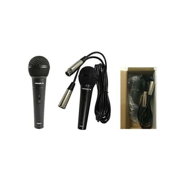 PROEL DM800 Microfono Dinamico per Voce Karaoke completo di cavo XLR 5 metri