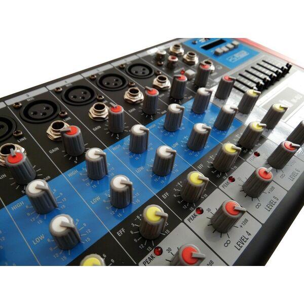 MIXER AUDIO 8 CANALI CON USB BLUETOOTH EFFETTI ECO KARAOKE PIANOBAR