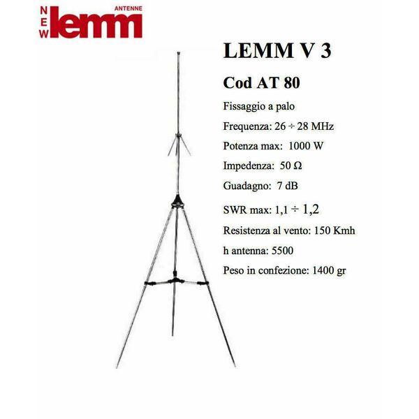 Lemm V3 AT-80 (SKYLAB) Antenna CB 27 Mhz 1/4 d'onda da stazione fissa Base Tetto