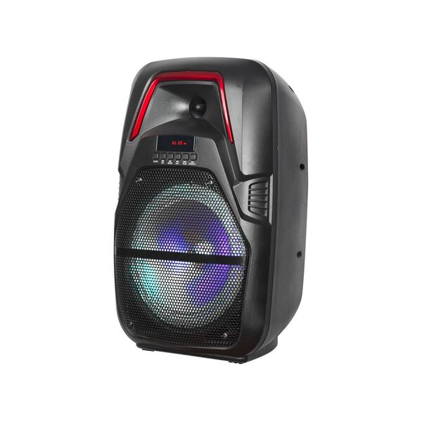 "Cassa acustica Amplificata Attiva 8"" Ricaricabile a Batteria Luce LED Bluetooth/SD/USB/Radio"