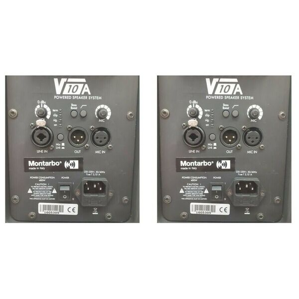 MONTARBO V10A II° Serie Coppia Casse Amplificate Attive Diffusori 2000W Made in Italy (EX-Demo)