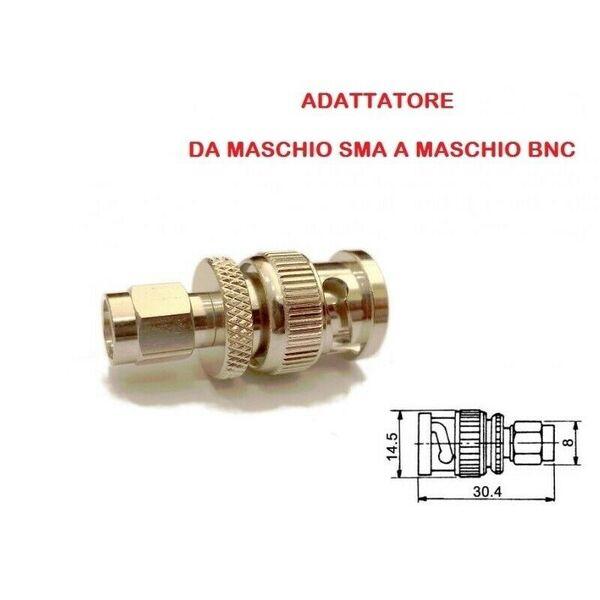 ADATTATORE DA MASCHIO SMA A MASCHIO BNC ( per radio baofeng - wouxun - tyt )