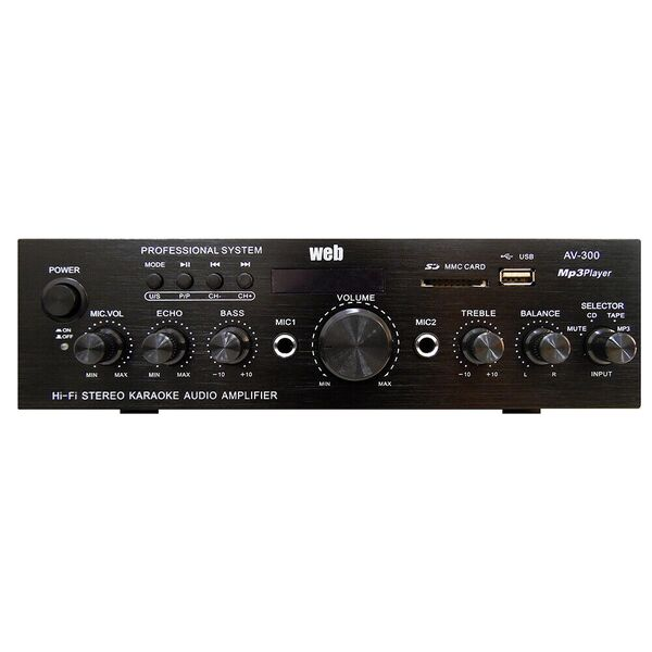 AMPLIFICATORE AUDIO HI-FI STEREO BLUETOOTH RADIO USB/SD MP3 AV-300