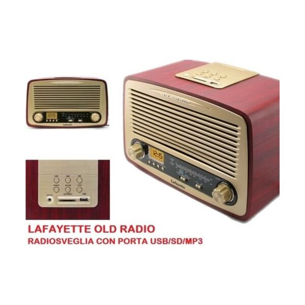 LAFAYETTE OLD RADIO STILE VINTAGE RADIOSVEGLIA AM/FM USB/SD/MP3 REGISTRA SU SD