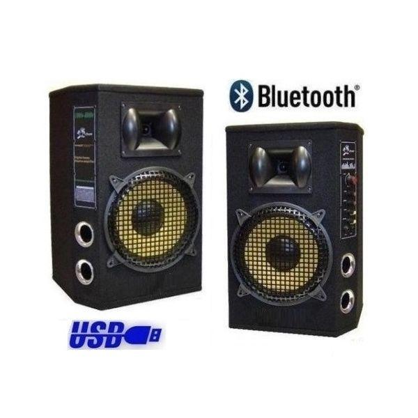 K-LM08 KIT AUDIO KARAOKE CASSE AMPLIFICATE ATTIVE BLUETOOTH USB MP3 + MICROFONI WI-FI WIRELESS